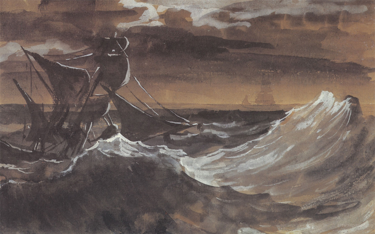Sailboat On A Stormy Sea Theodore Gericault 318850 Wallpaper wallpaper