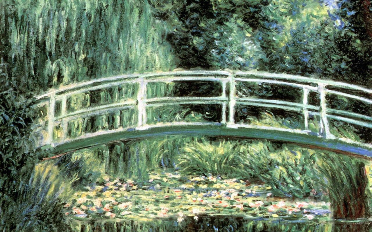 Sailboat Water Lilies And Japanese Bridge Claude Monet Painting 568162 Wallpaper wallpaper