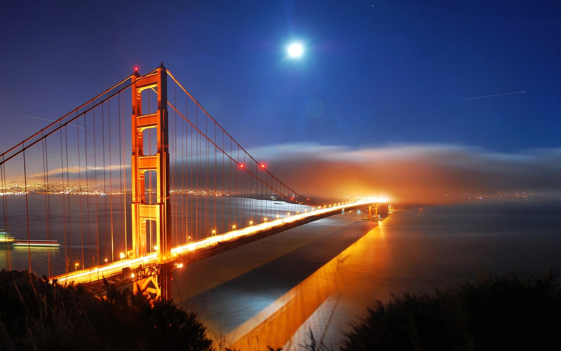 San Francisco Bridge Night Lights wallpaper