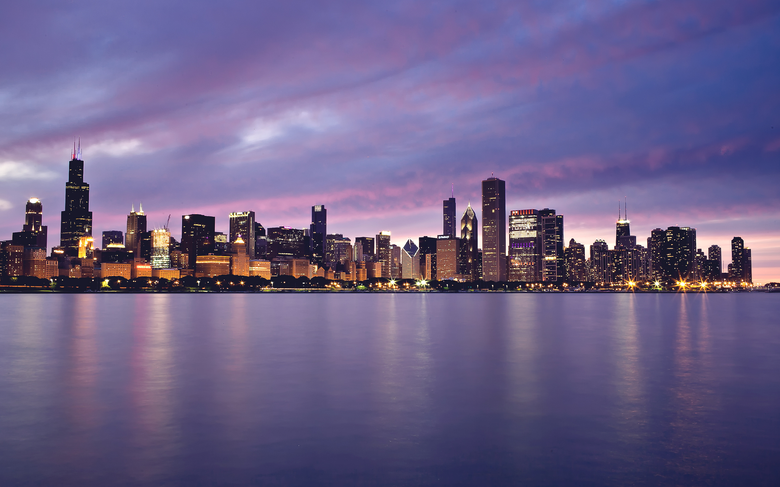 Architecture Widescreen Chicago Lights Buildings Skyscrapers Lake Sunset A 1147090 Wallpaper wallpaper