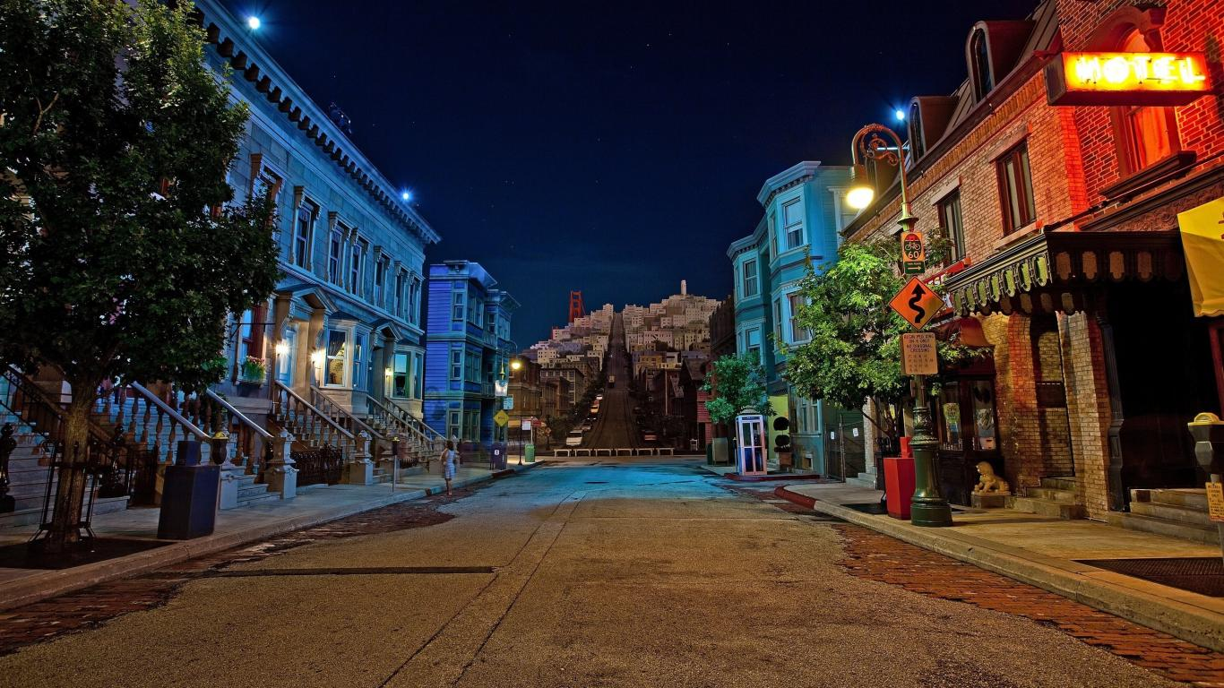 Architecture Night Buildings City Colorful Houses Road Street 223454 Wallpaper wallpaper
